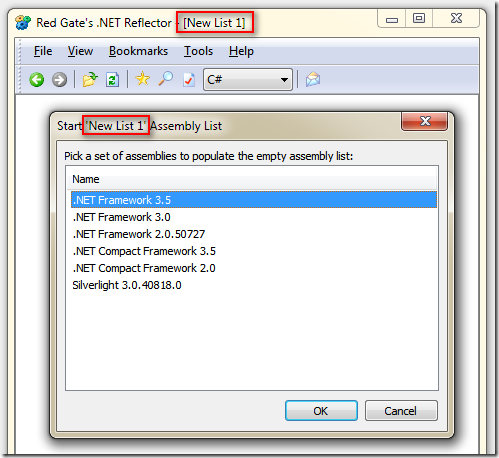 Red Gate's .NET Reflector :: Start 'New List 1' Assembly List