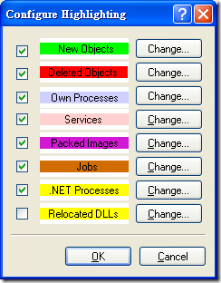 Process Explorer - Configure Highlighting