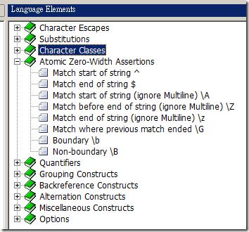Regular Expression Designer - Language Elements