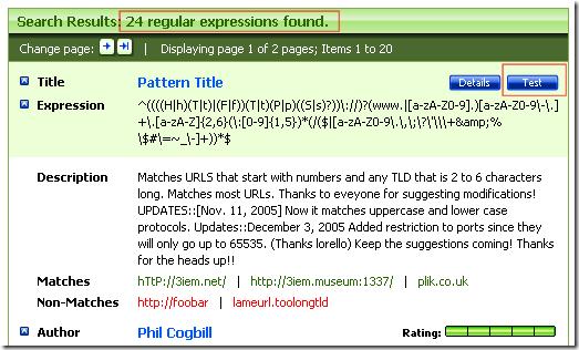 RegExLib.com - Search Result