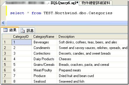 那如果要下 T-SQL 查詢連結的伺服器中資料庫的資料,就可以用以下語法直接查詢: