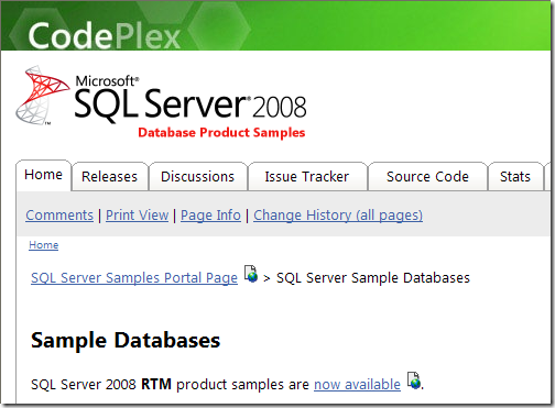 SQL Server Sample Databases