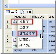 在查詢結果視窗複製或儲存結果的方式