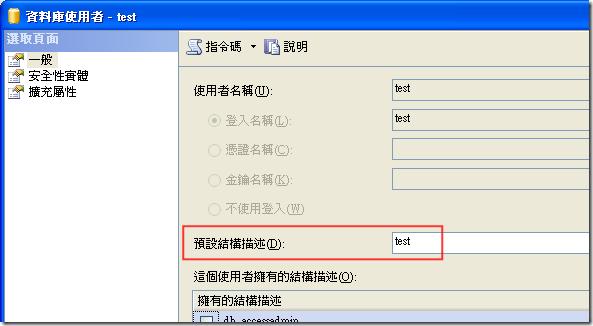 資料庫使用者 - test