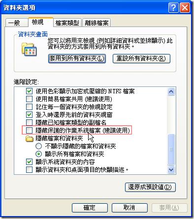 取消勾選檔案總管中 [資料夾選項] 中的「隱藏保護的作業系統檔案」