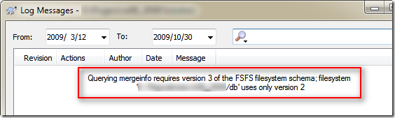 Querying mergeinfo requires version 3 of the FSFS filesystem schema; filesystem uses only version 2