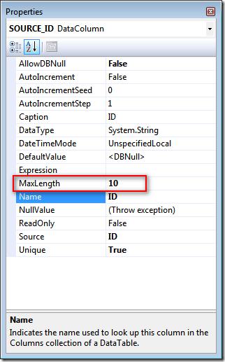 Properties: 我有個強型別資料集 (Typed DataSet) 的 Typed DataTable,該表格的 Primary Key 欄位長度為 10,在資料庫中定義的欄位是 Varchar2(10)