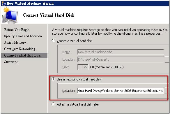 從 Hyper-V 新增 VM 個過程只要在 [Connect Virtual Hard Disk] 選取轉換過的虛擬硬碟即可