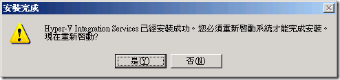 Hyper-V Integration Services 完成安裝