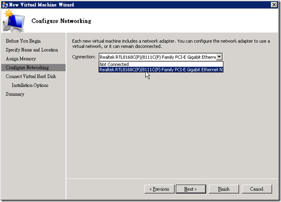 Hyper-V :: 執行 :: New :: Virtual Machine :: Configure Networking