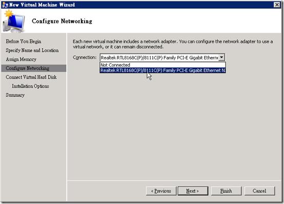 Hyper-V :: 執行 :: New :: Virtual Machine :: Configure Networking