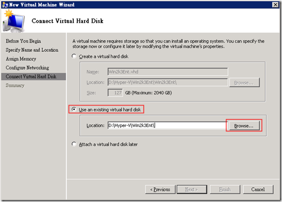 Hyper-V :: 執行 :: New :: Virtual Machine :: Connect Virtual Hard Disk