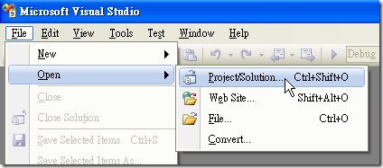 Visual Studio - [File] / [Open] / [Project/Solution]