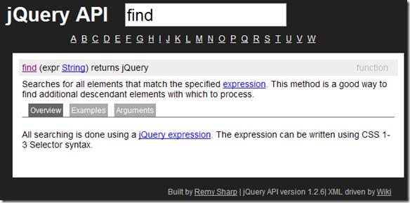 jQuery API browser