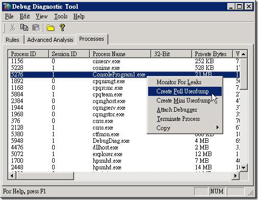 Debug Diagnostic Tool