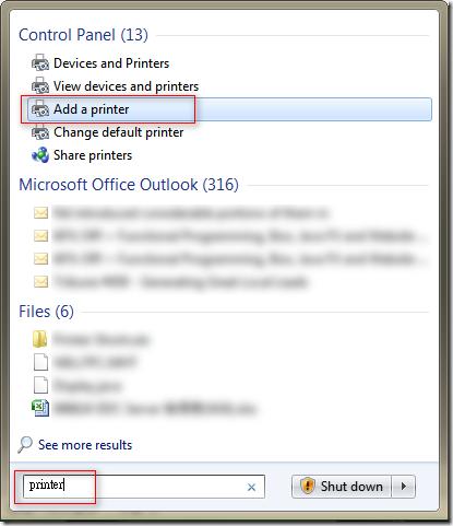 點選 [開始] 並輸入 printer 搜尋,再選取 [Add a printer] 或 [新增印表機]