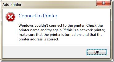 選取失敗時會出現以下錯誤: Connect to Printer