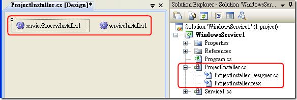 接著,Visual Studio 就會幫你建立一個 ProjectInstaller.cs 類別 ( 繼承自 Installer 類別 ),並自動新增兩個與 Windows 服務安裝有關的控制項,方便你直接設定。