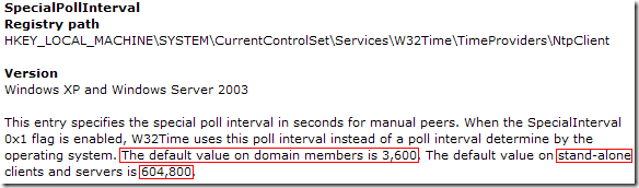 SpecialPollInterval: This entry specifies the special poll interval in seconds for manual peers. When the SpecialInterval 0x1 flag is enabled, W32Time uses this poll interval instead of a poll interval determine by the operating system. The default value on domain members is 3,600. The default value on stand-alone clients and servers is 604,800.