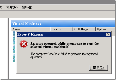 Hyper-V Manager: An error occurred while attempting to start the selected virtual machine(s).  The computer 'localhost' failed to perform the requested operation.