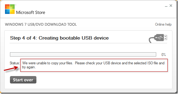 We were unable to copy your files.  Please check your USB device and the selected ISO file and try again.