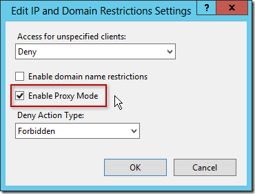 Edit IP and Domain Restrictions Settings - Enable Proxy Mode