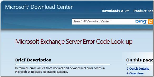 Microsoft Exchange Server Error Code Look-up