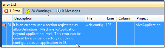 It is an error to use a section registered as allowDefinition='MachineToApplication' beyond application level.  This error can be caused by a virtual directory not being configured as an application in IIS.