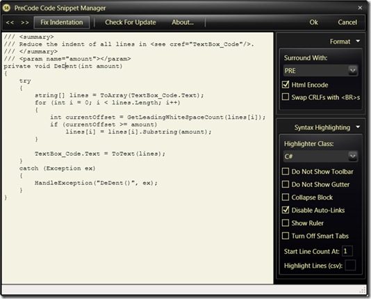 Code Snippet With Syntaxhighlighter Support for Windows Live Writer 5.0.2