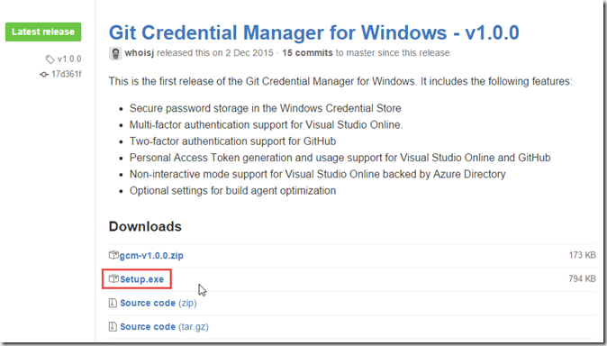 git windows credential manager
